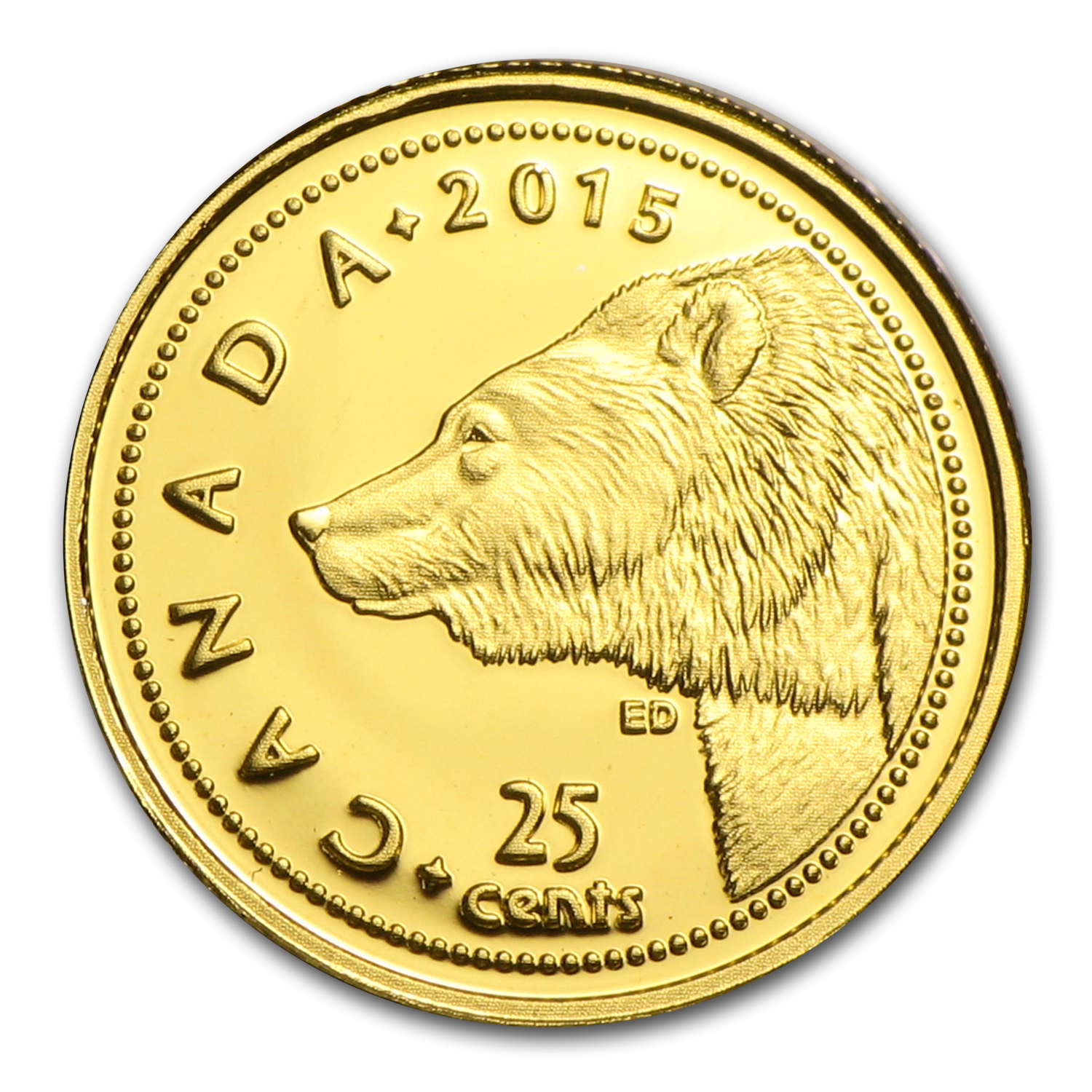 2015 1/2 Gram Gold Canadian $0.25 Grizzly Bear