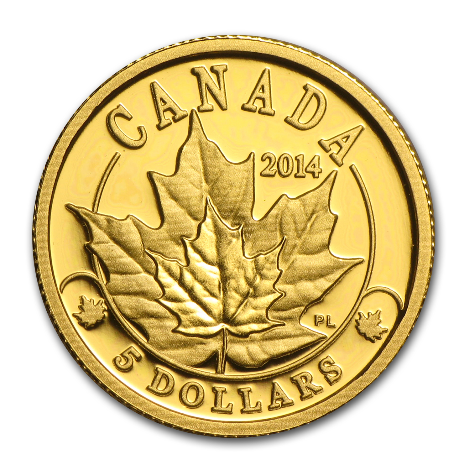 2014 Canada 1/10 oz Prf Gold $5 Overlaid Majestic Maple Leaves