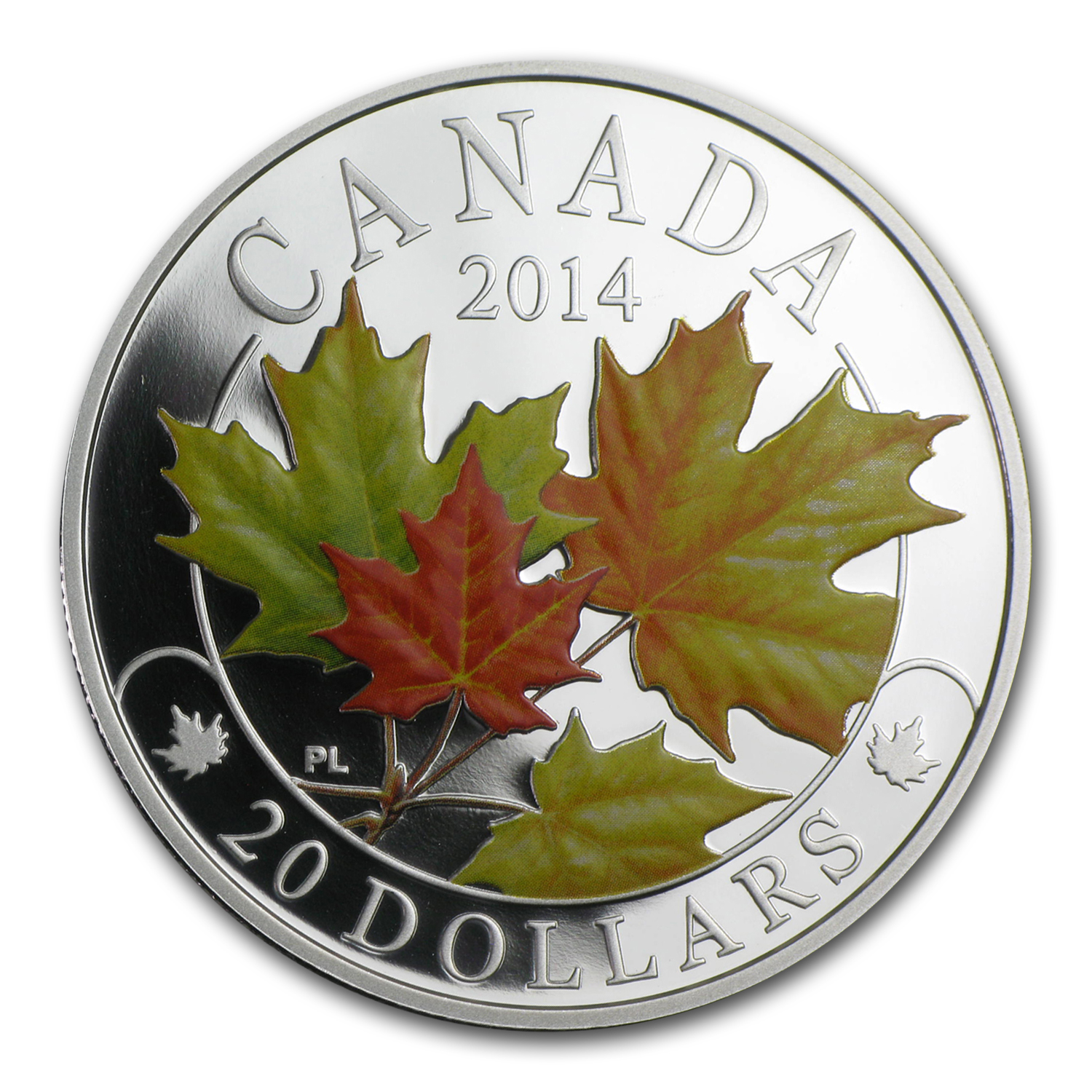 2014 1 oz Silver Canadian $20 Majestic Maple Leaves (w/Colour)