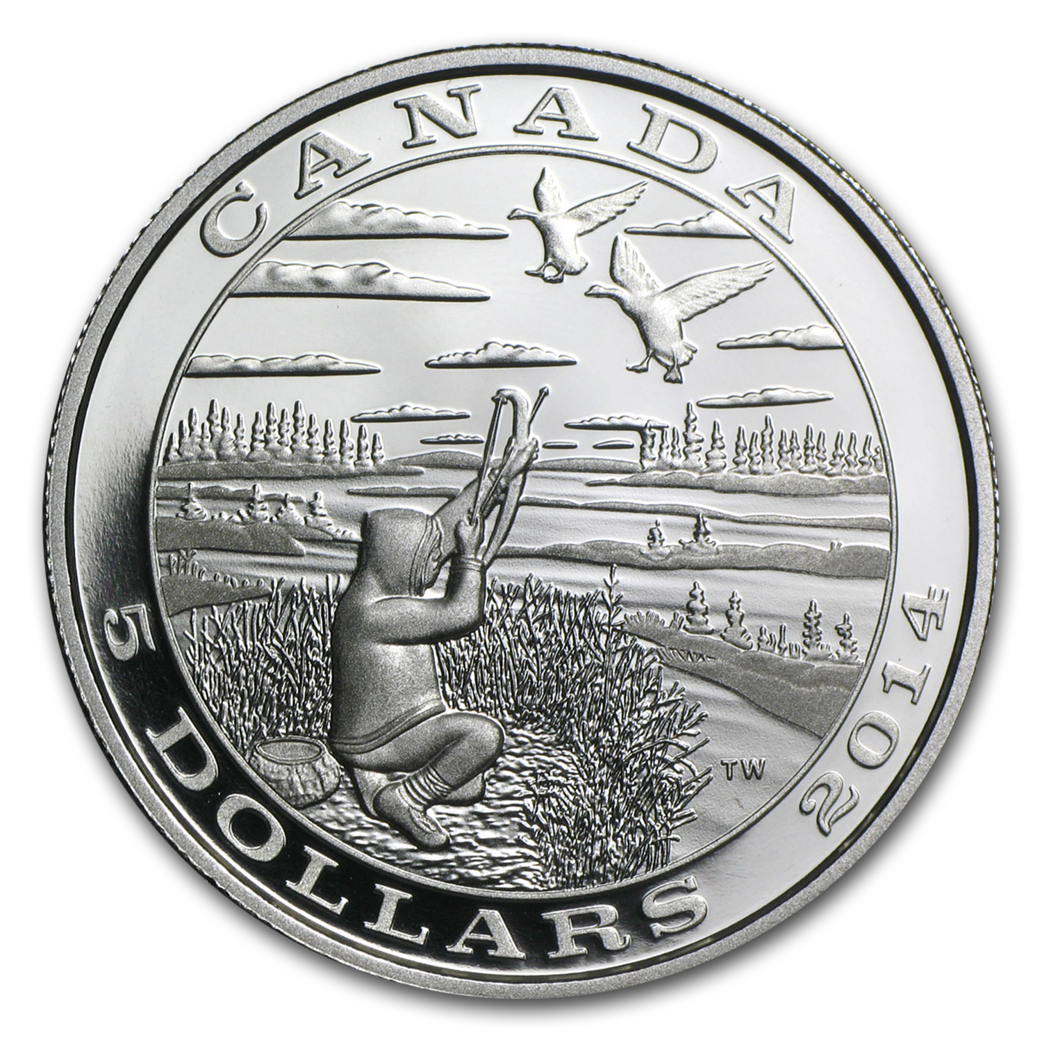 2014 Canada Silver $5 Tradition of Hunting Canada Goose