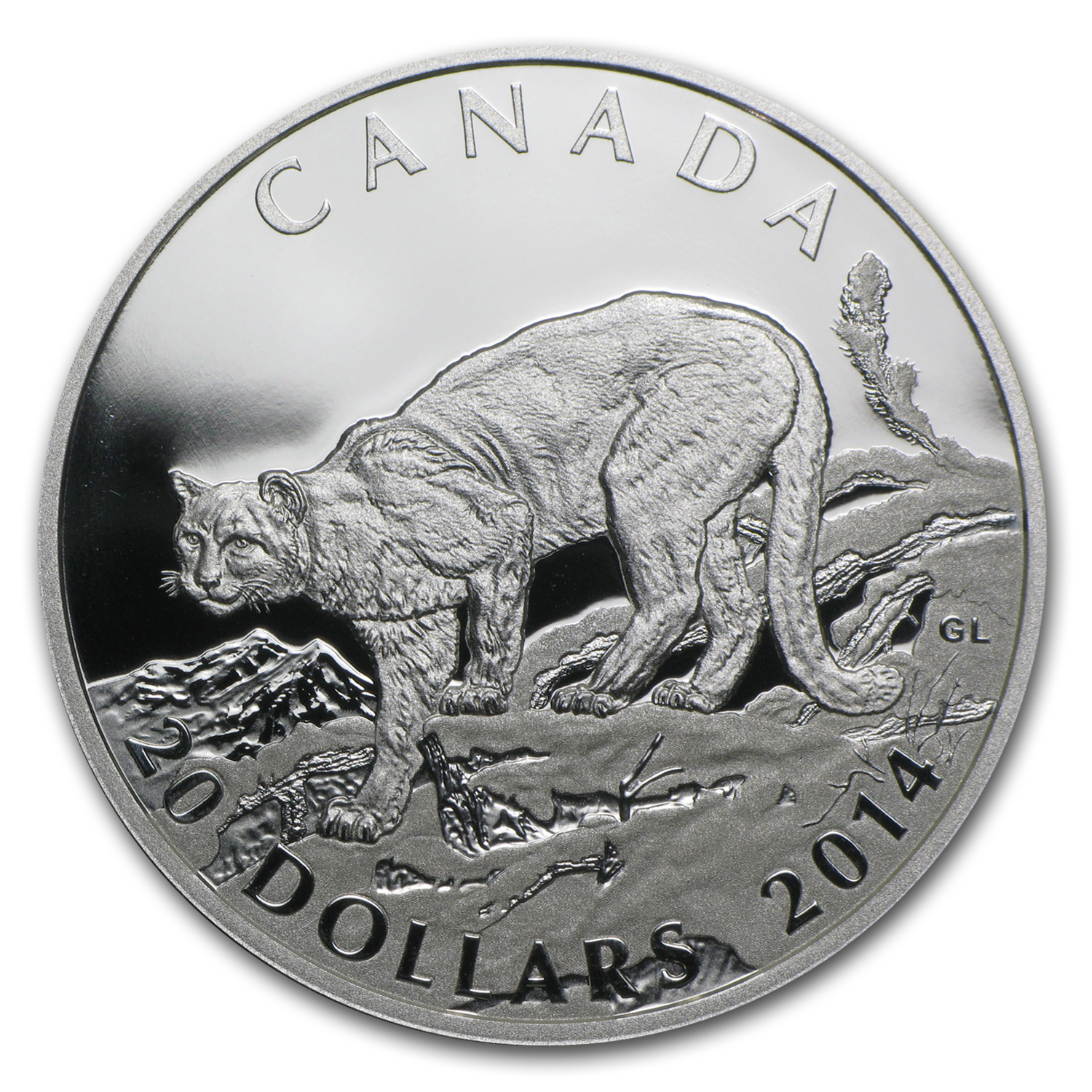 2014 1 oz Silver Canadian $20 Cougar (Atop a Mountain)