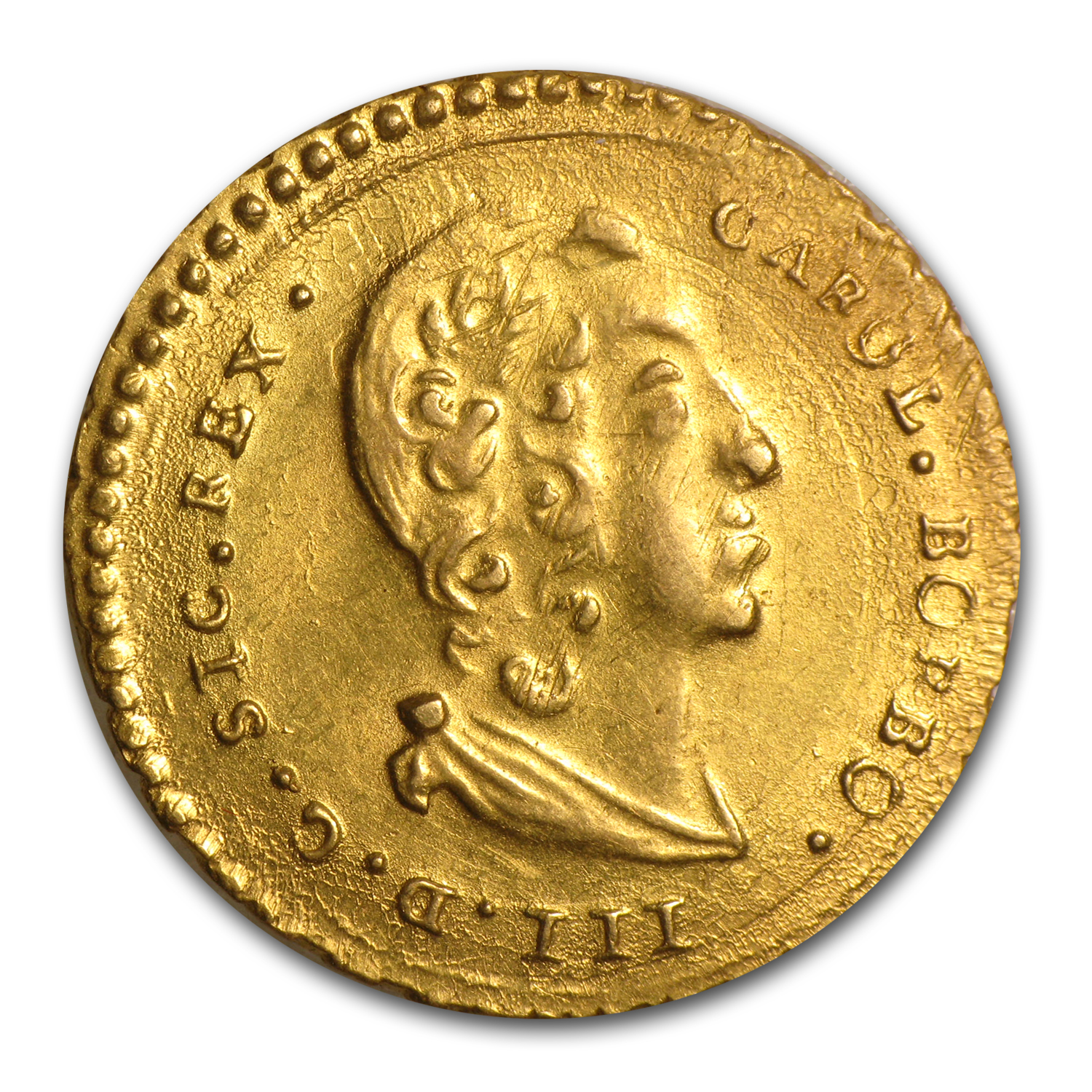 1734 Kingdom of Sicily Gold Oncia Charles III XF