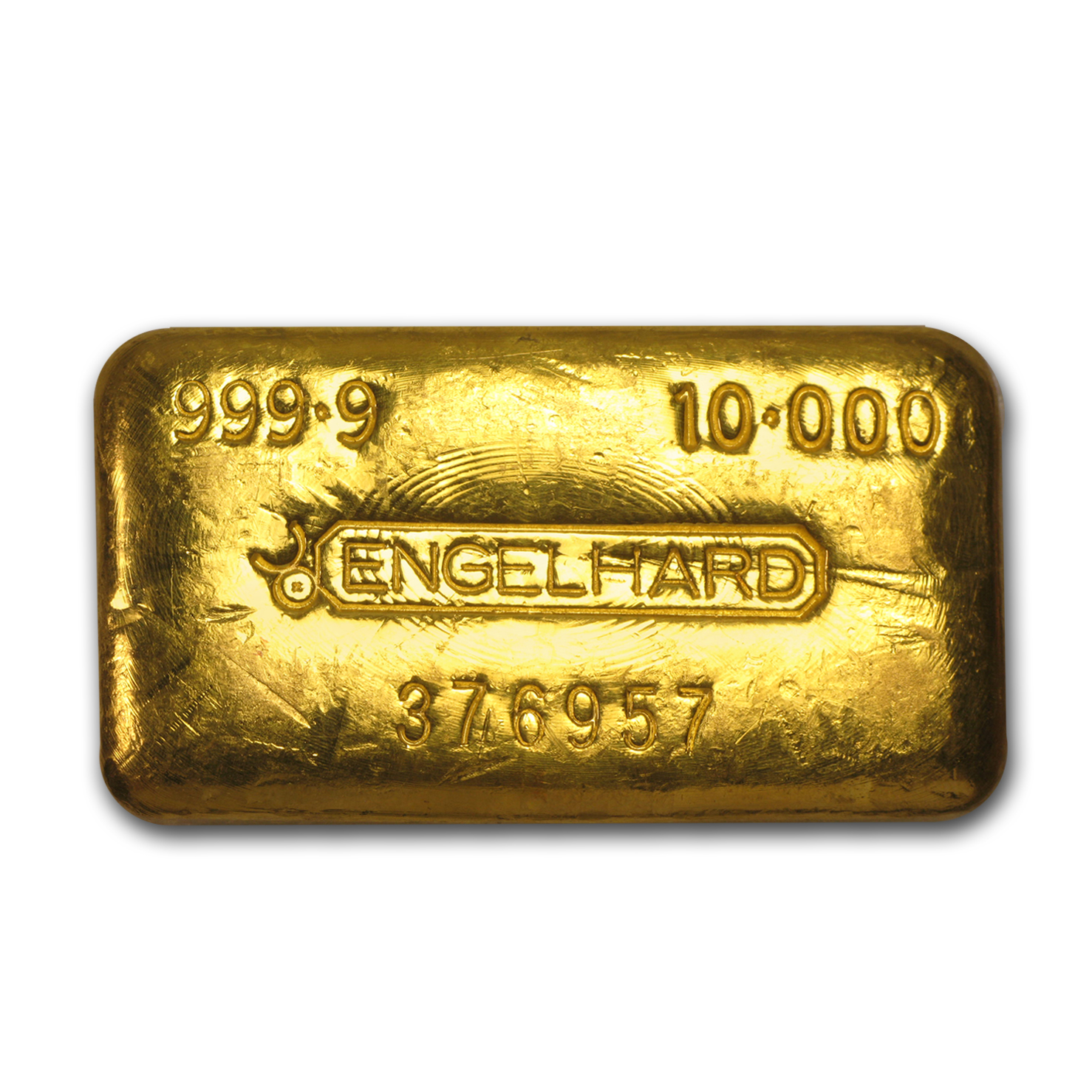 10 oz Gold Bar - Engelhard (Poured/Loaf-Style, Bull Logo)