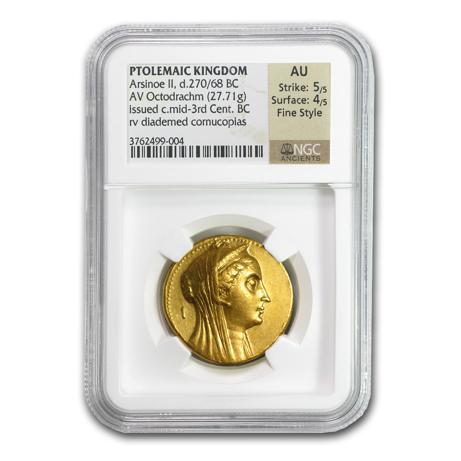 Ptolemaic Kingdom Gold Octodrachm Mid 3rd Cent. BC - AU NGC