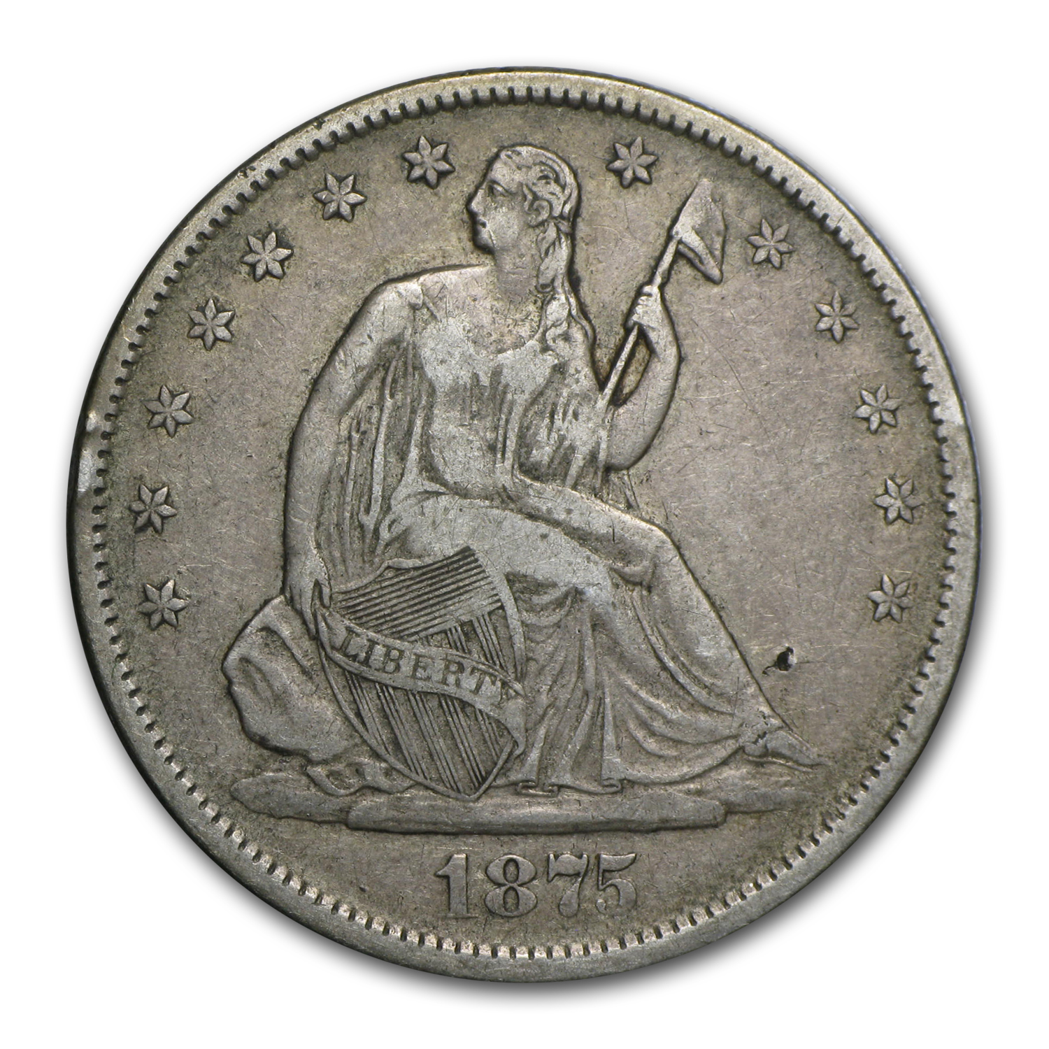 1875-S Liberty Seated Half Dollar Extra Fine