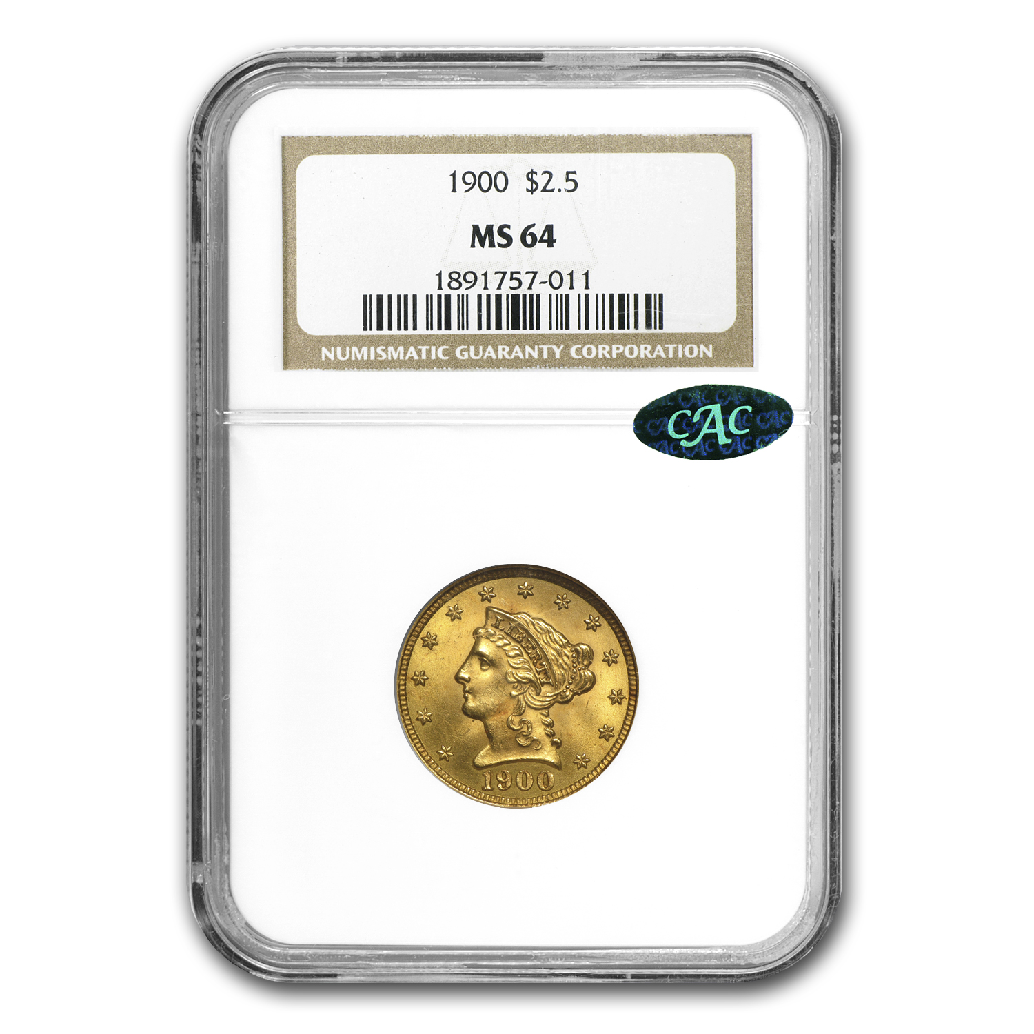 $2.50 Liberty Gold Quarter Eagle MS-64 NGC or PCGS (CAC)