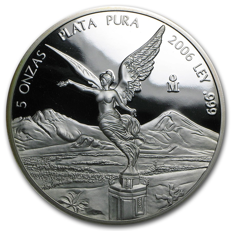 2006 Mexican 5 Oz Silver Libertad Proof In Capsule