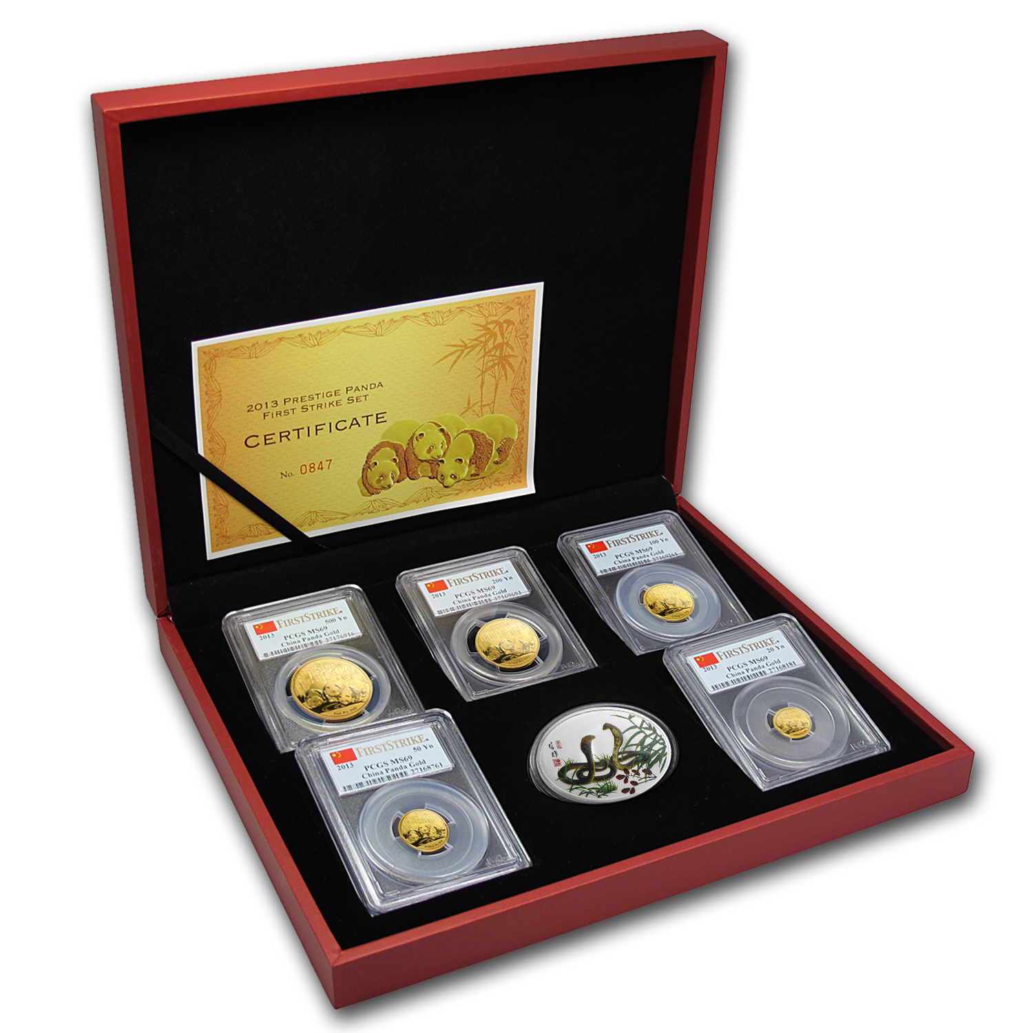 2013 China 5-Coin Gold Panda Prestige Set MS-69 PCGS (FS)