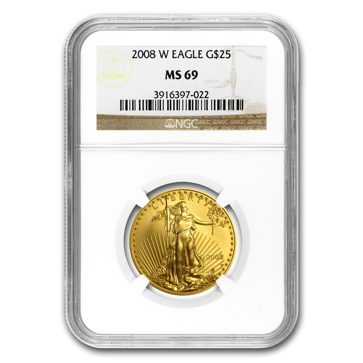2008-W 1/2 oz Burnished Gold American Eagle MS-69 NGC