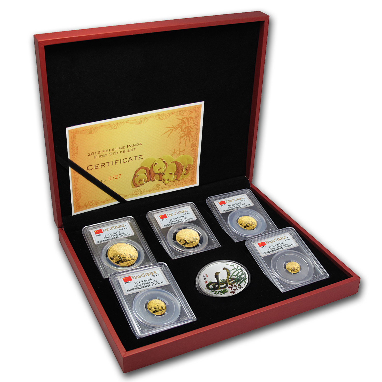 2013 China 5-Coin Gold Panda Prestige Set MS-70 PCGS (FS)