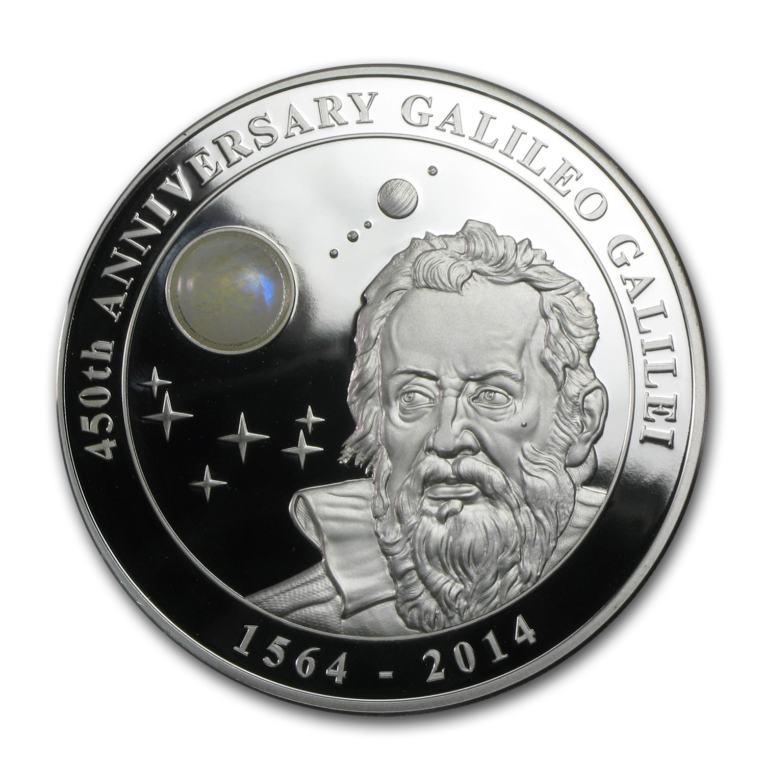 2014 Cook Islands 2 oz Silver Galileo Galilei Moonstone Proof
