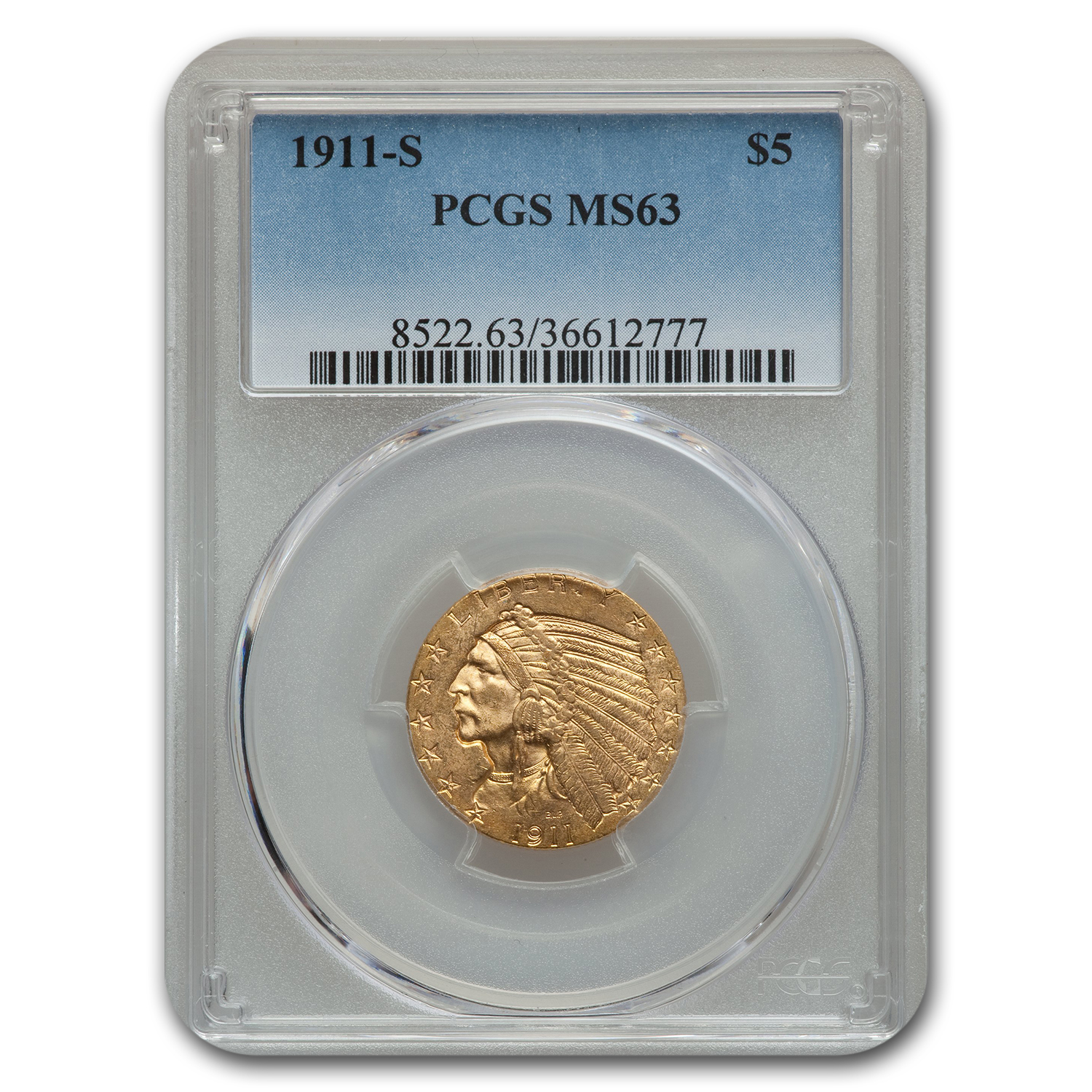 1911-S $5 Indian Gold Half Eagle MS-63 PCGS