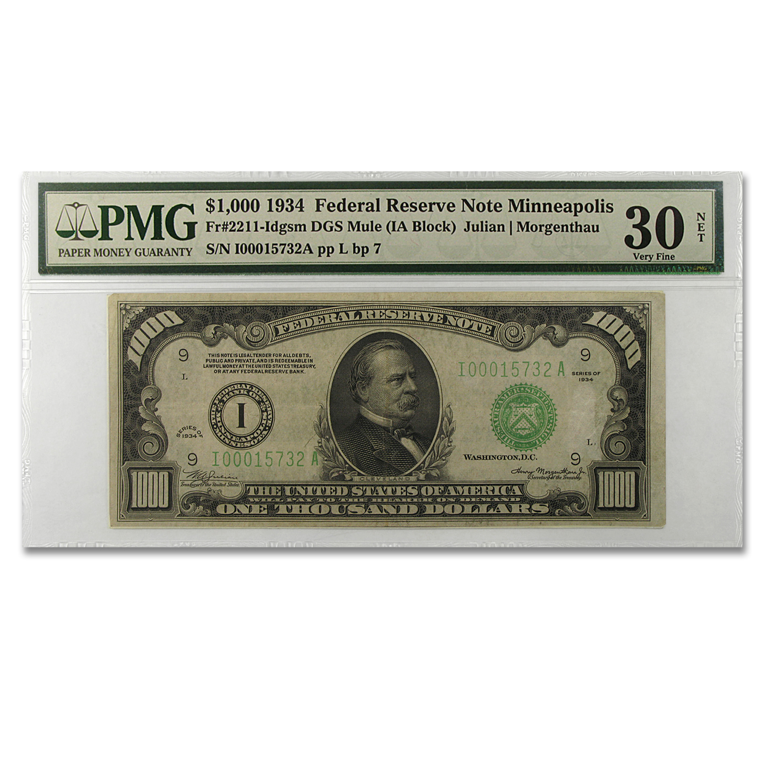 1934 (I-Minneapolis) $1,000 FRN Very Fine 30 PMG