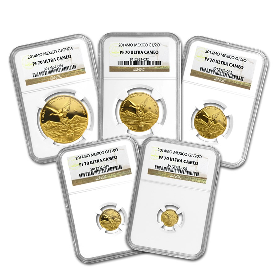 2014 Mexico 5-Coin Gold Libertad Proof Set PF-70 NGC  1 9 oz  - Gold