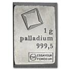 1 gram Palladium Bar - Valcambi Suisse