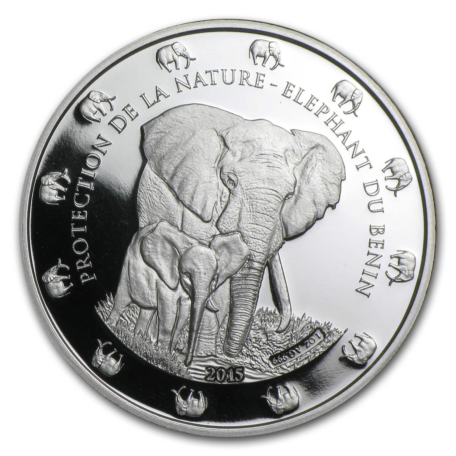 2015 Benin 1 oz Silver Protection de la Nature Elephant