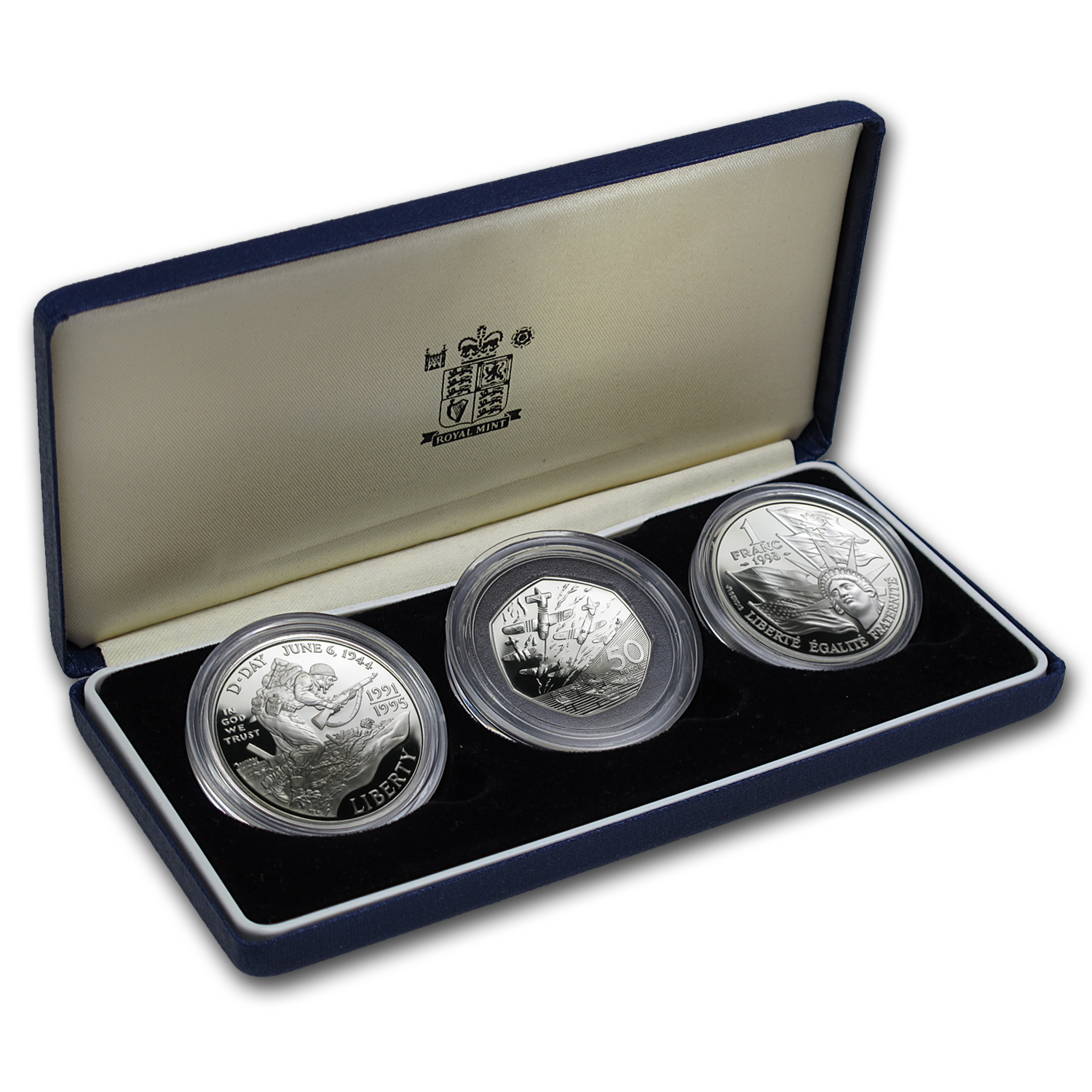 Britain, France, U.S. Silver 3 Coin Set - D-Day