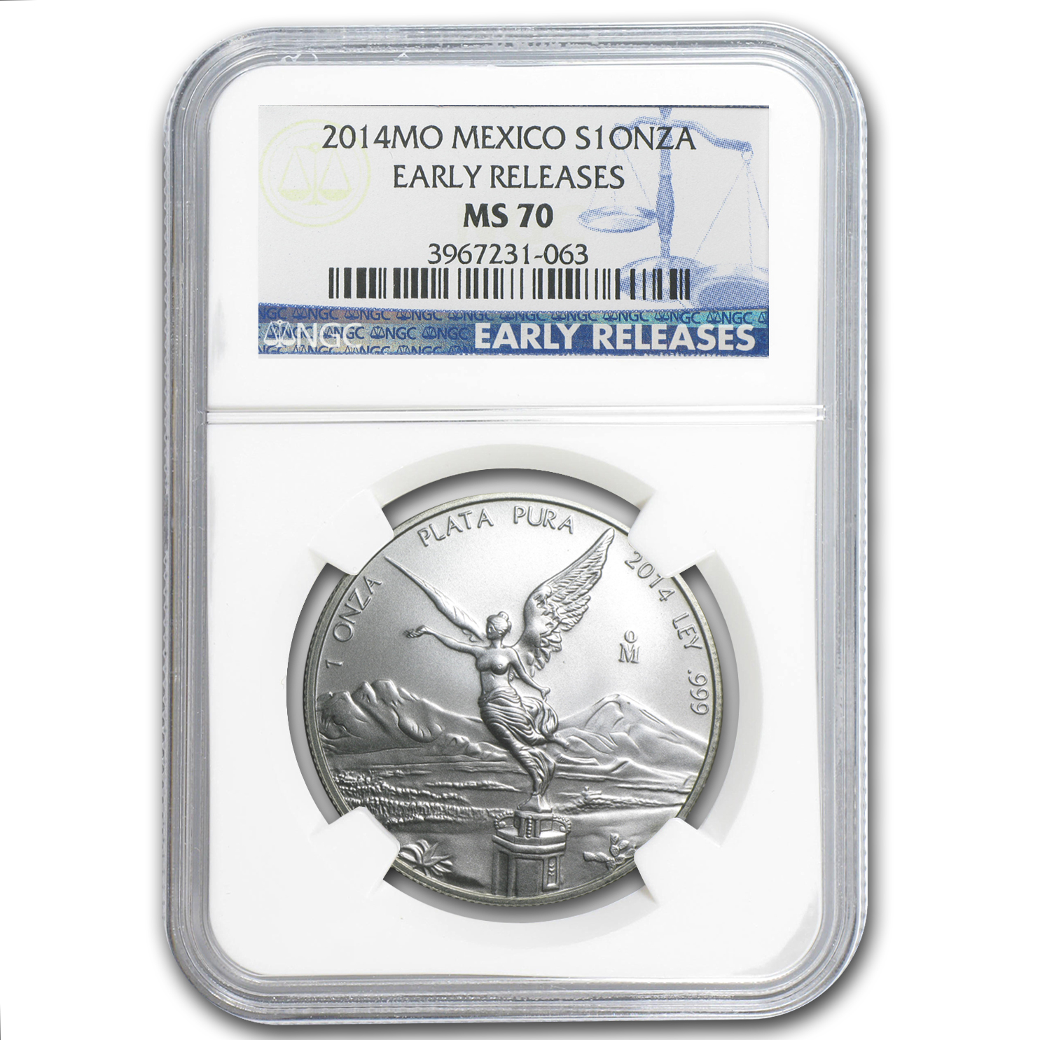 2014 1 oz Silver Mexican Libertad MS-70 NGC (Early Releases)
