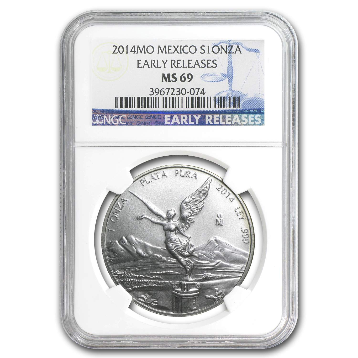 2014 Mexico 1 oz Silver Libertad MS-69 NGC (Early Releases)