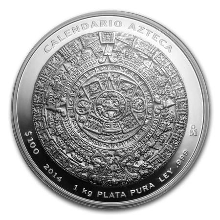 2014 Mexico 1 Kilo Silver Aztec Calendar W Box Amp Coa