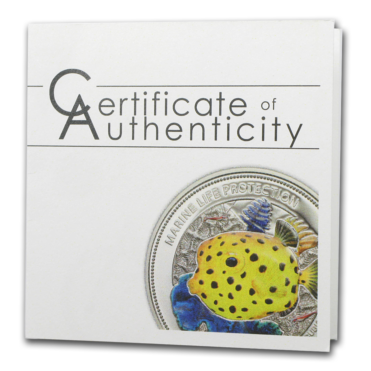 2014 Palau Silver $5 Marine Life Protection Yellow Boxfish