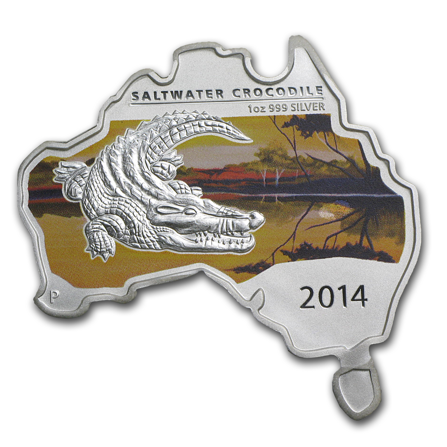 2014 Australia 1 oz Silver Saltwater Crocodile BU (Map Shape)