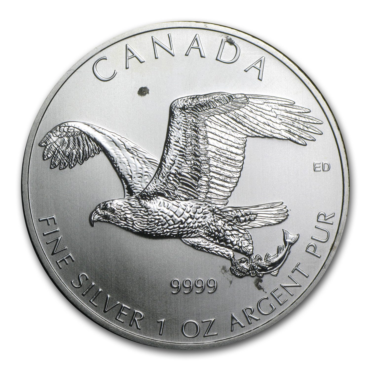 2014 1 oz Silver Bird of Prey Bald Eagle (Abrasions, Spots)