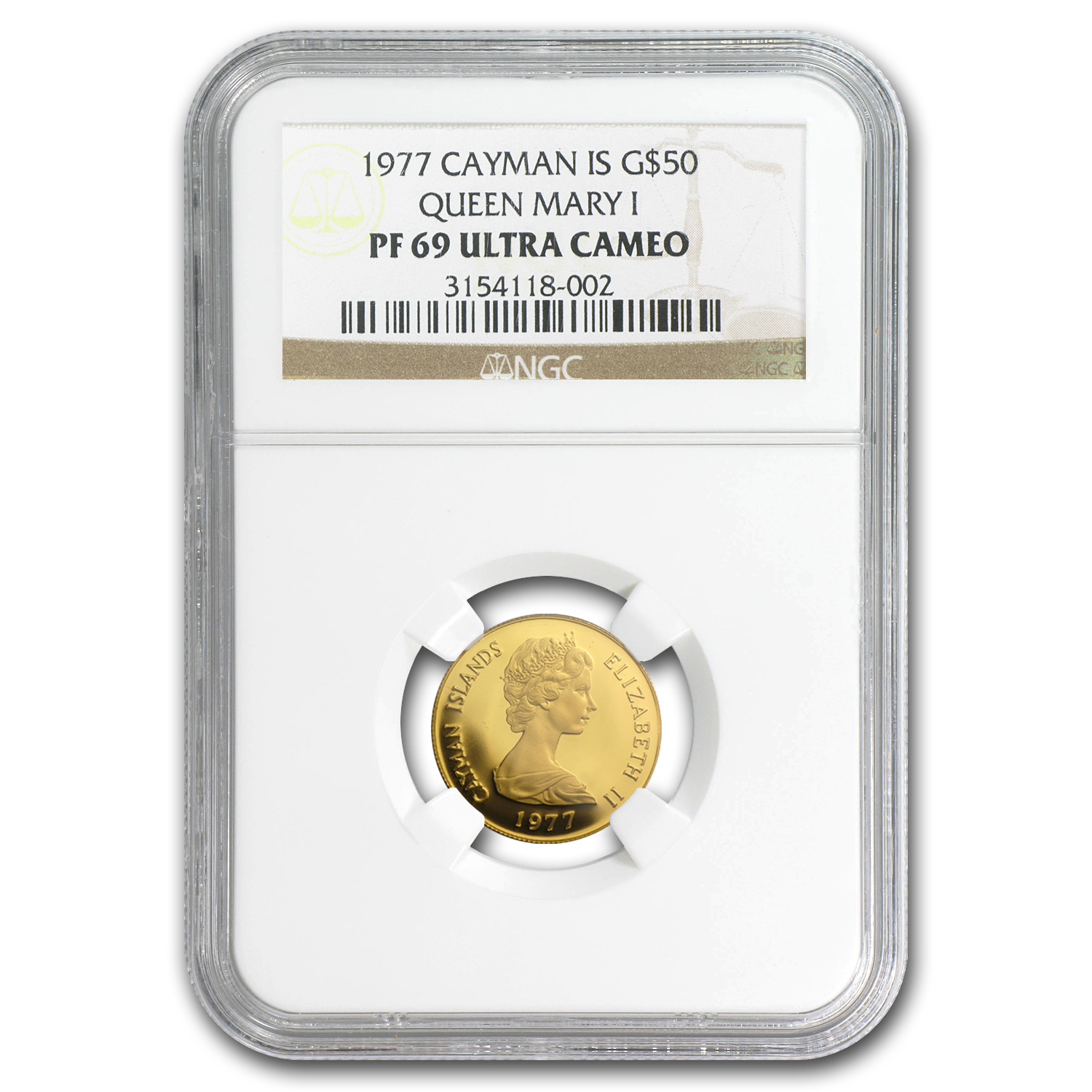 1977 Cayman Islands Proof Gold $50 English Queens PF-69 NGC