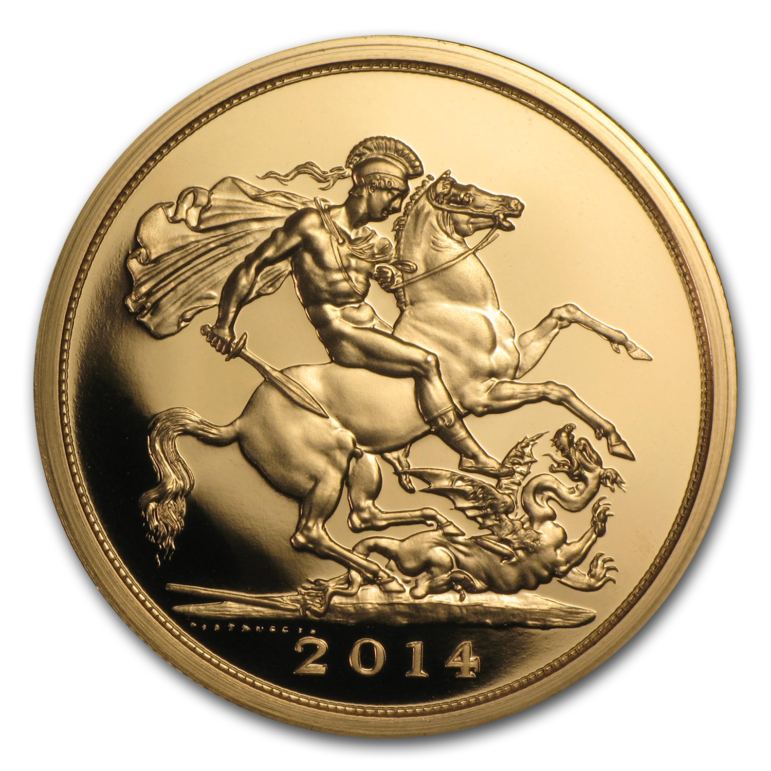 2014 Great Britain Gold £5 Sovereign BU (w/Box & COA)