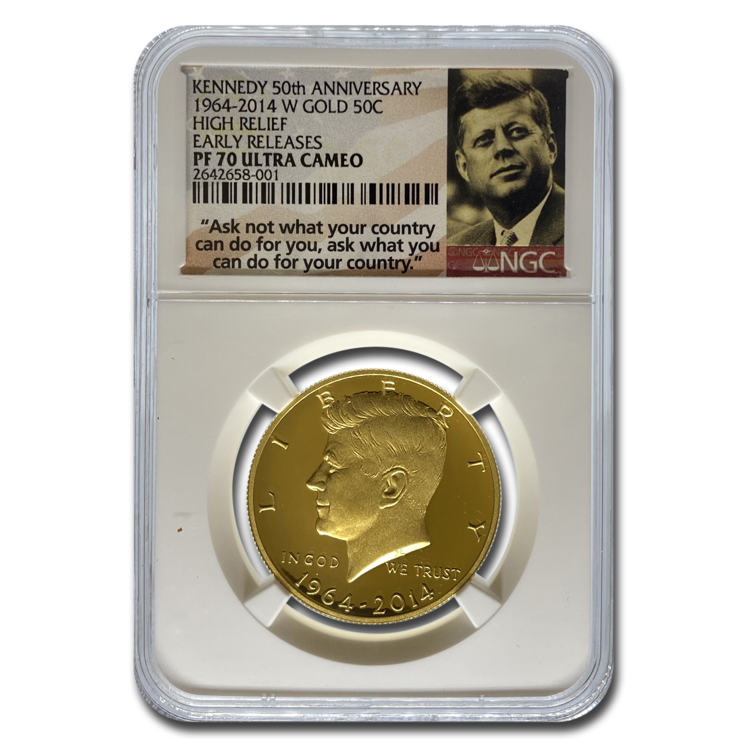 2014-W 3/4 oz Gold Kennedy 1/2 Dollar PF-70 NGC (ER)