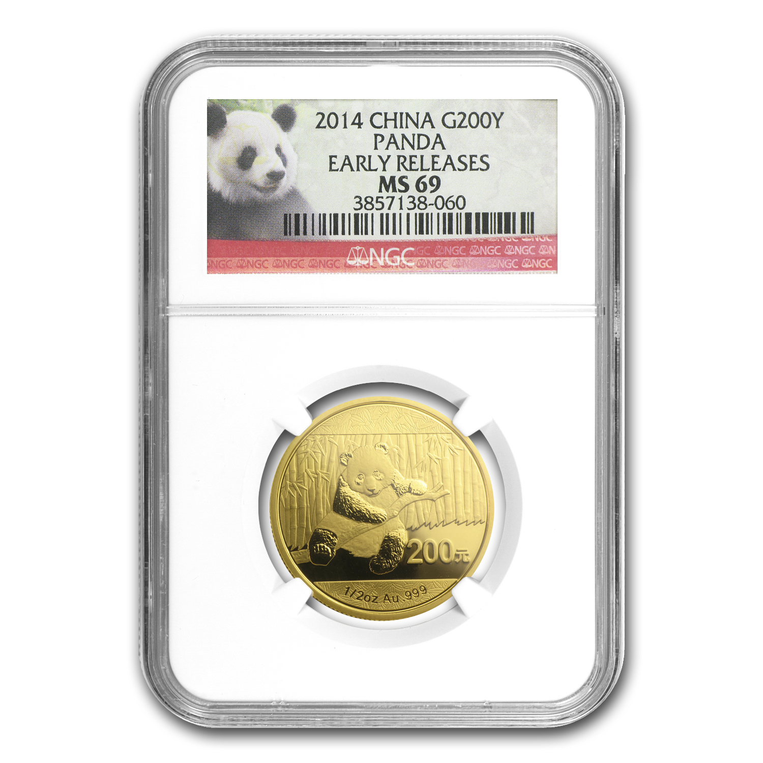 2014 1/2 oz Gold Chinese Panda MS-69 NGC (ER)