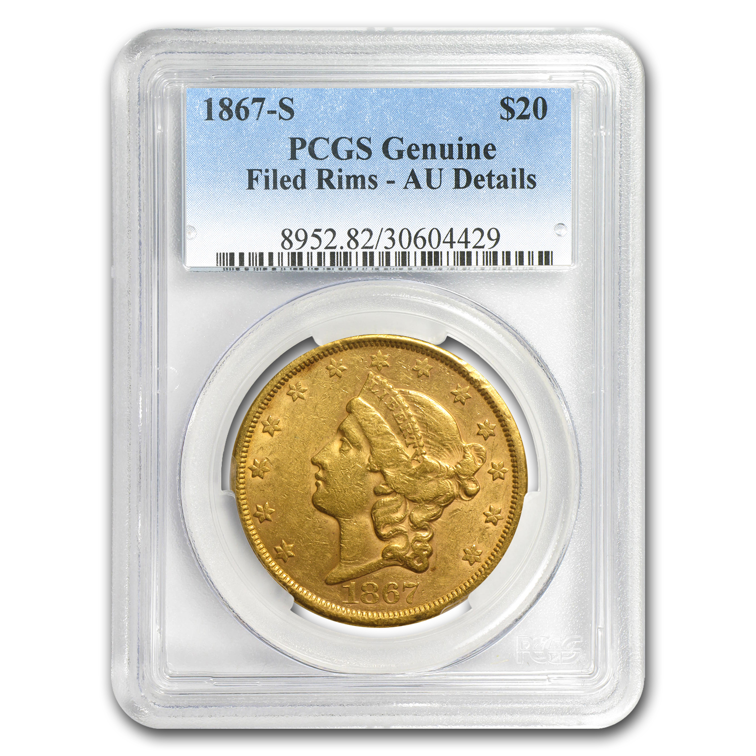 1867-S $20 Gold Liberty Double Eagle AU Details PCGS