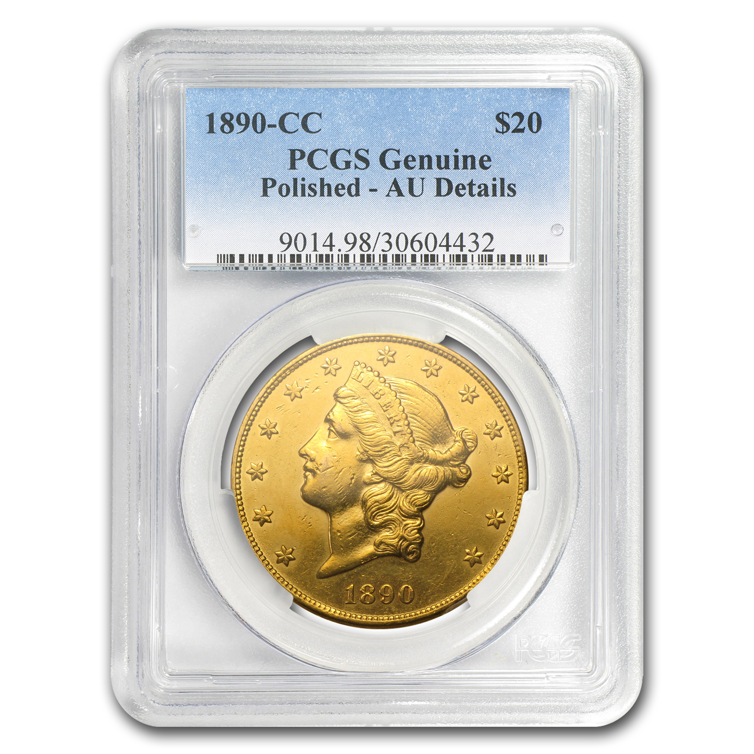 1890-CC $20 Gold Liberty Double Eagle AU Details PCGS