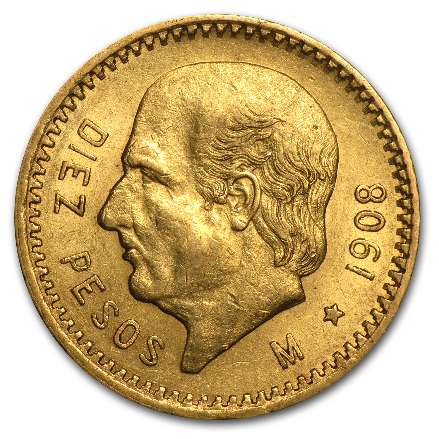 1908 Mexico Gold 10 Pesos XF