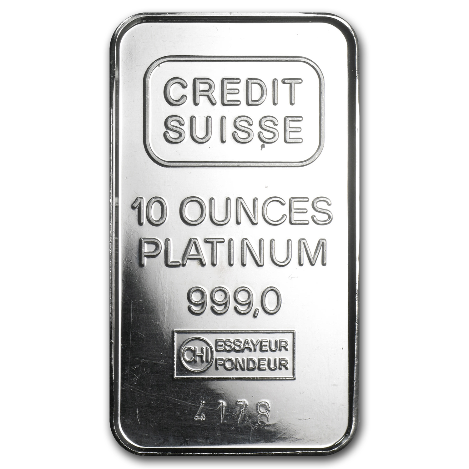 10 oz Platinum Bar - Secondary Market (.999+ Fine)