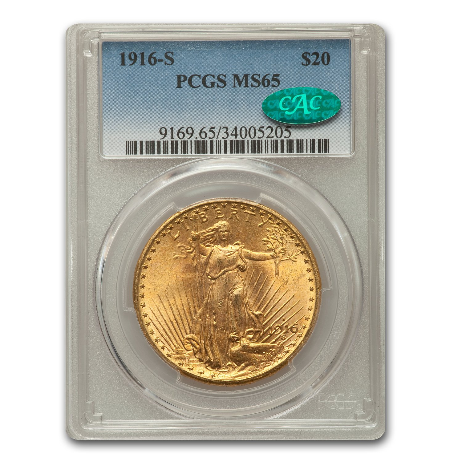 1916-S $20 St. Gaudens Gold Double Eagle - MS-65 PCGS CAC