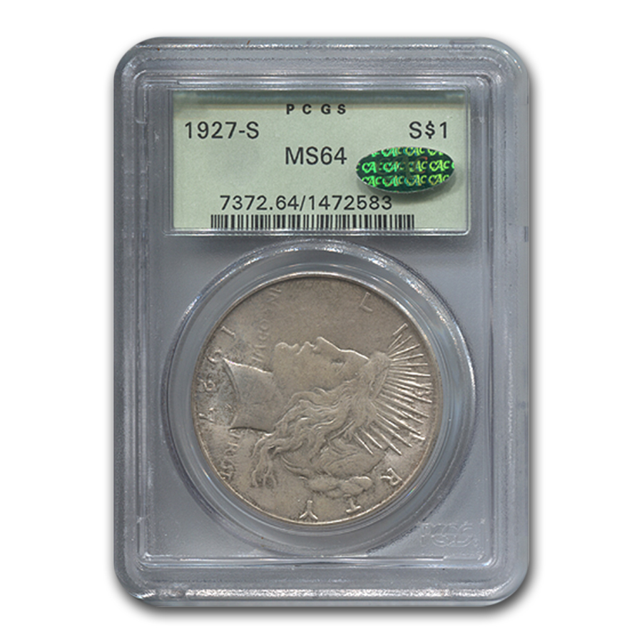 1927-S Peace Dollar MS-64 PCGS (CAC)