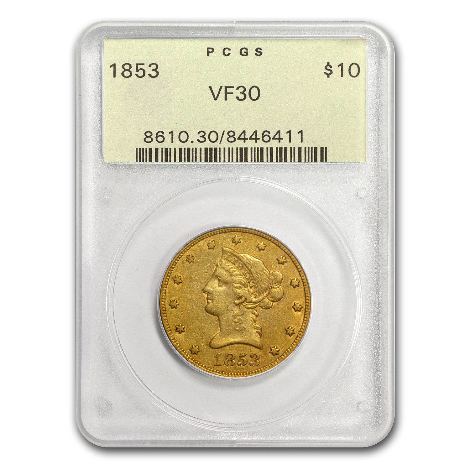 1853 $10 Liberty Gold Eagle VF-30 PCGS