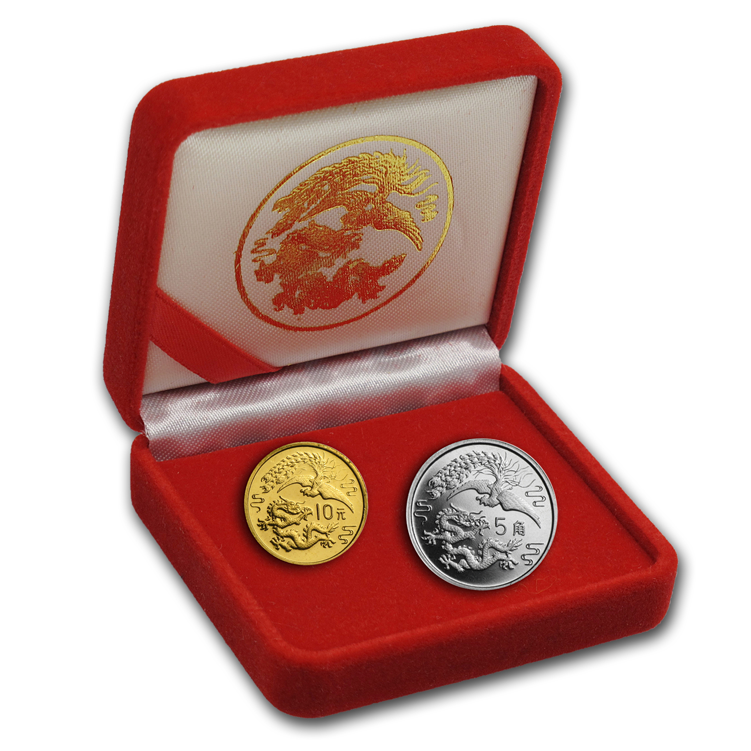 China 1990 1 gram Gold & 2 gram Silver Dragon & Phoenix Coin Set