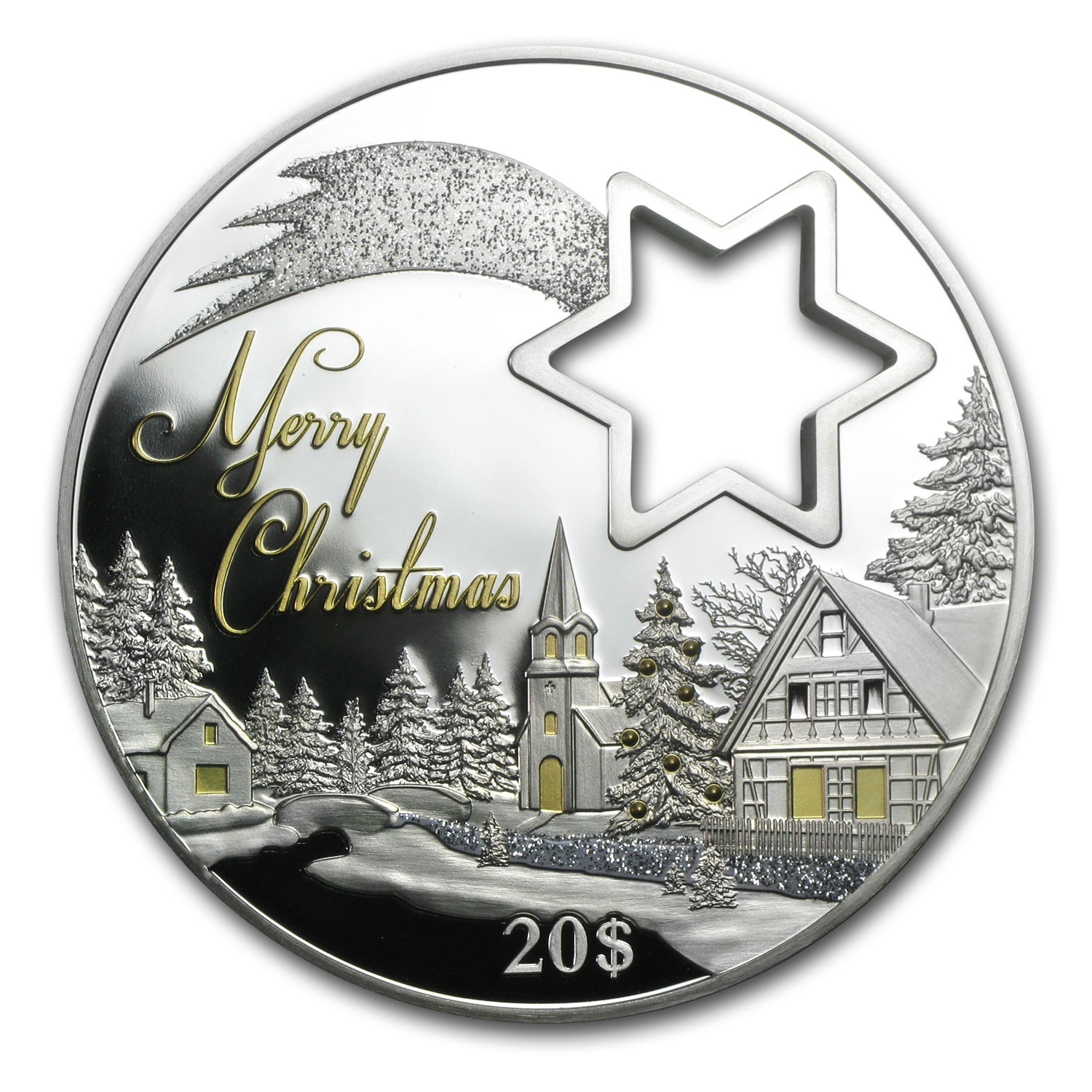 2014 2 oz Proof Silver Winter Wonderland Star Cut-out Coin