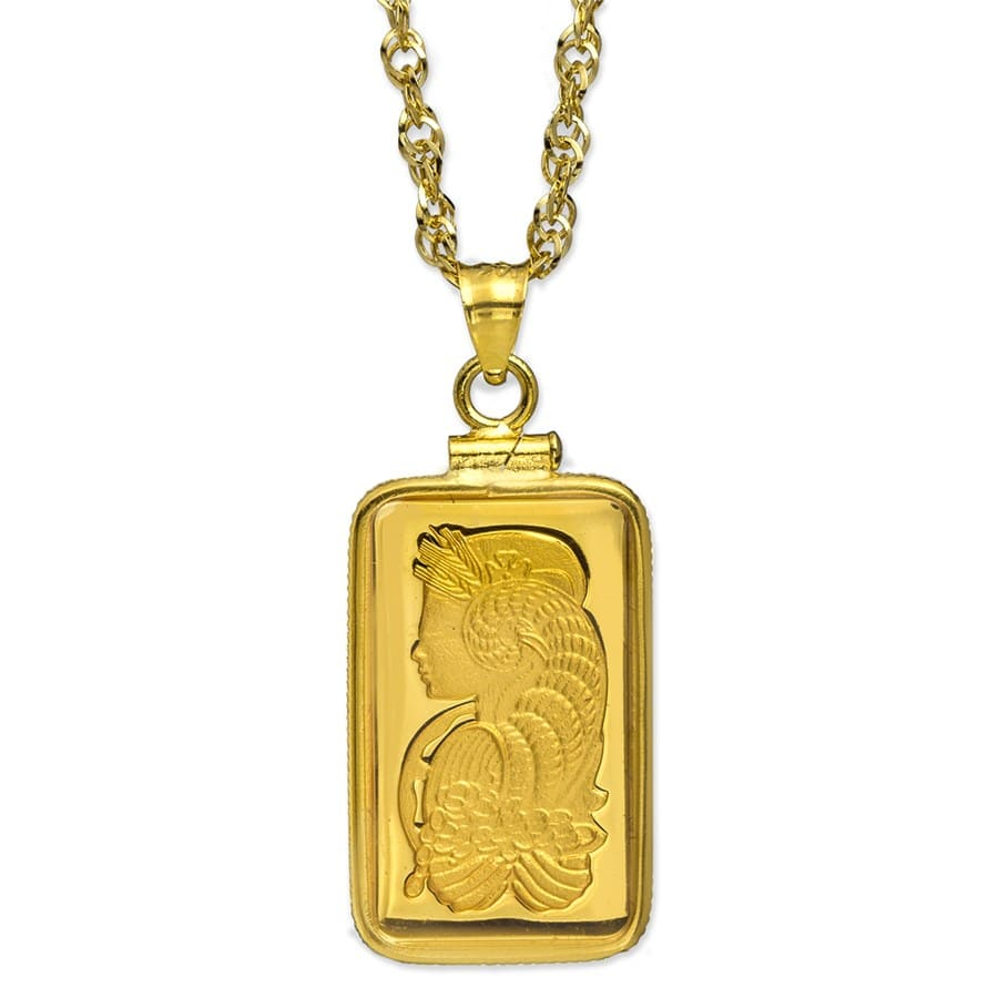 5 gram Gold Pendant - PAMP Suisse Fortuna (w/Chain)