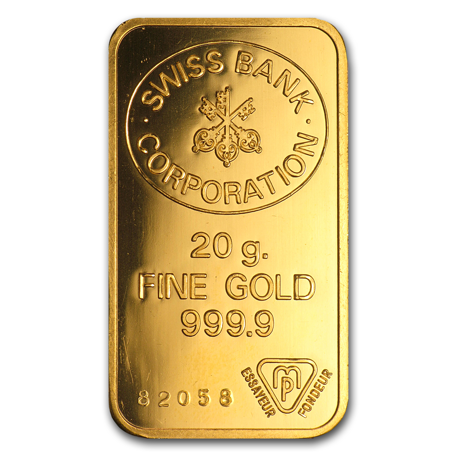 20 gram Gold Bar - Swiss Bank Corporation
