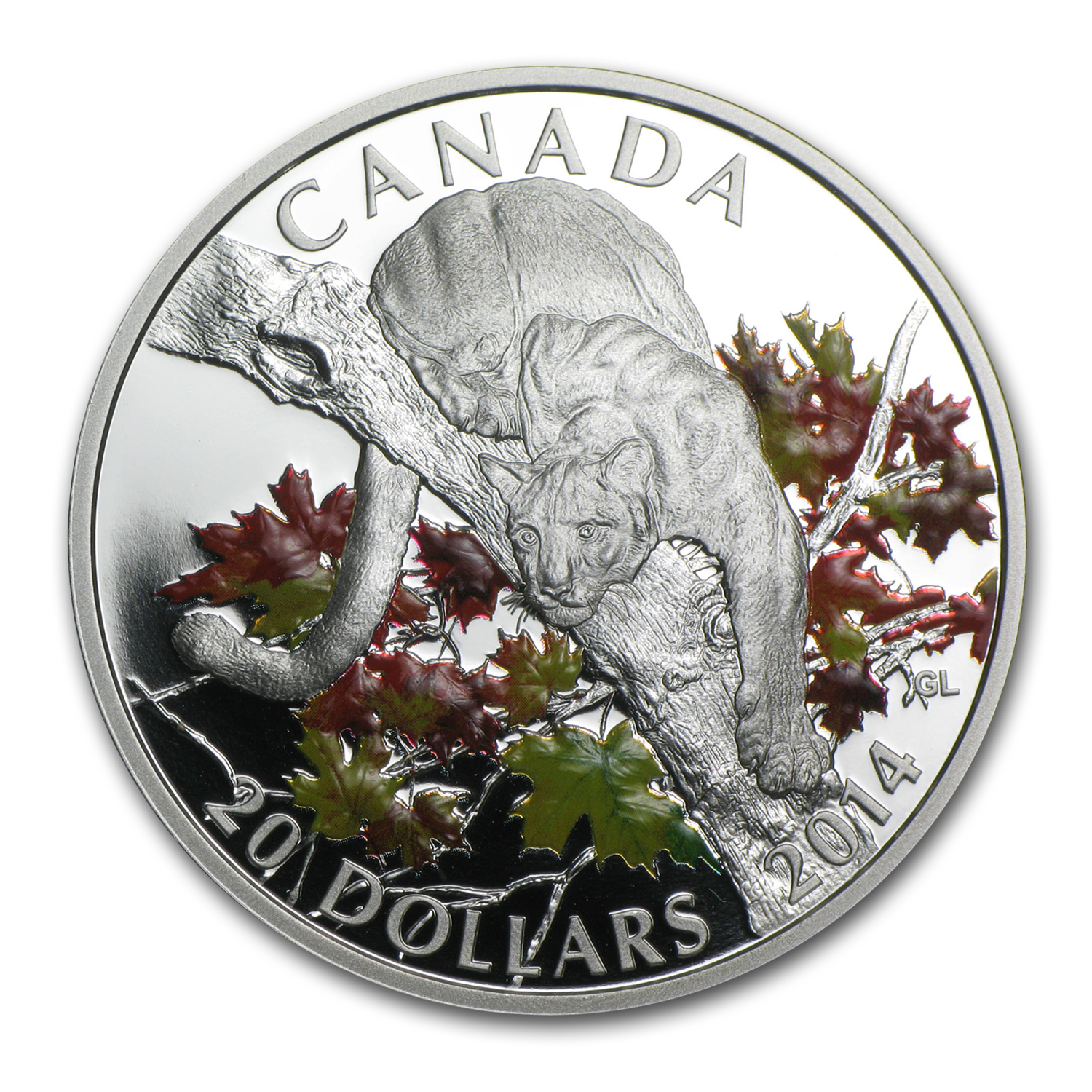 2014 Canada 1 oz Silver $20 Cougar Perched on a Maple Tree