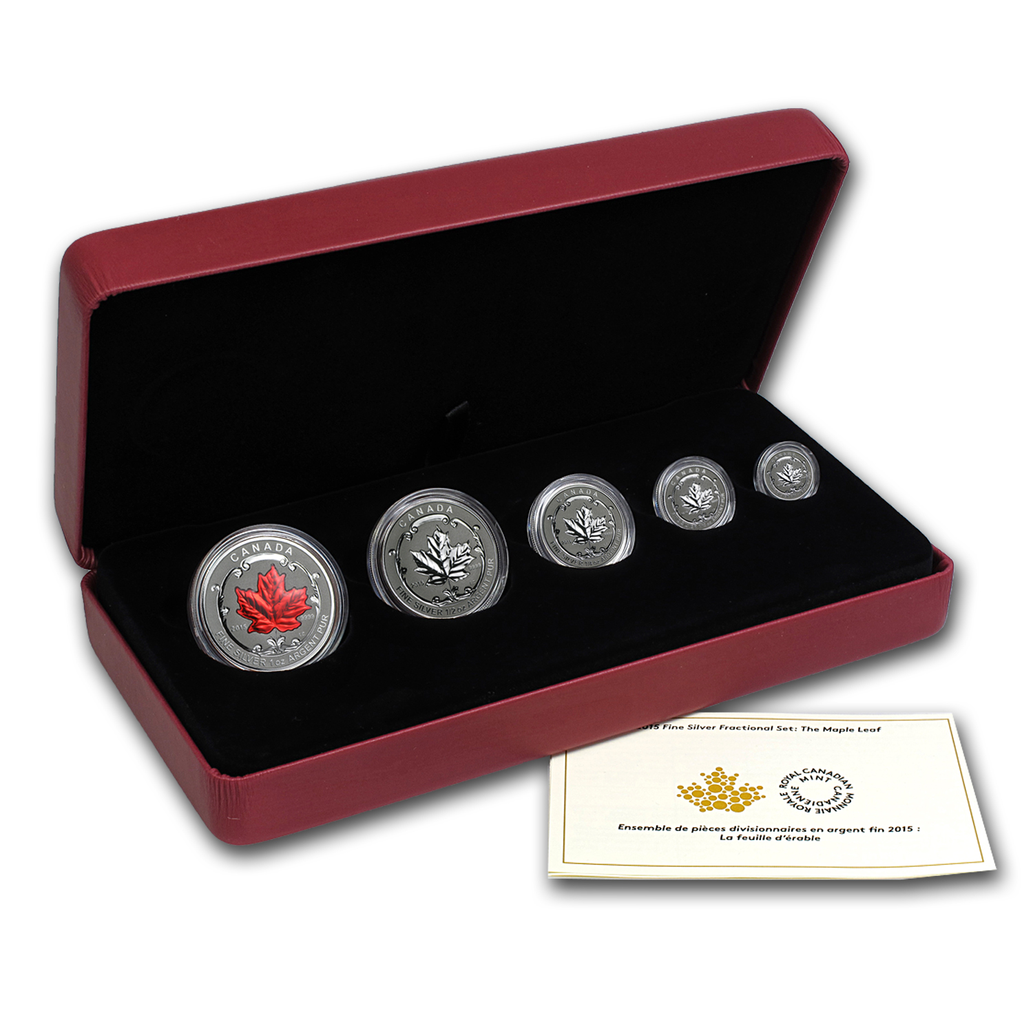 2015 Canada 5-Coin Reverse Proof Silver Maple Fractional Set