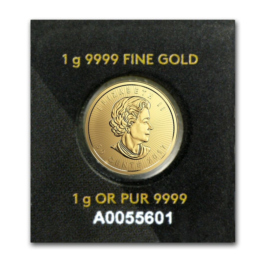 1 gram Gold Maple Leaf - Maplegram 25™ (In Assay)