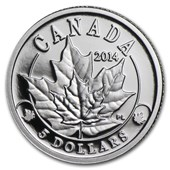 2014 Canada 1/10 oz Platinum $5 Overlaid Majestic Maple Leaves