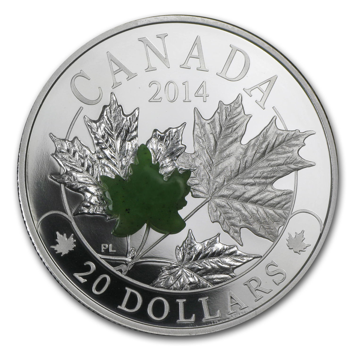 2014 Canada 1 oz Silver $20 Majestic Maple Leaves (w/Jade)