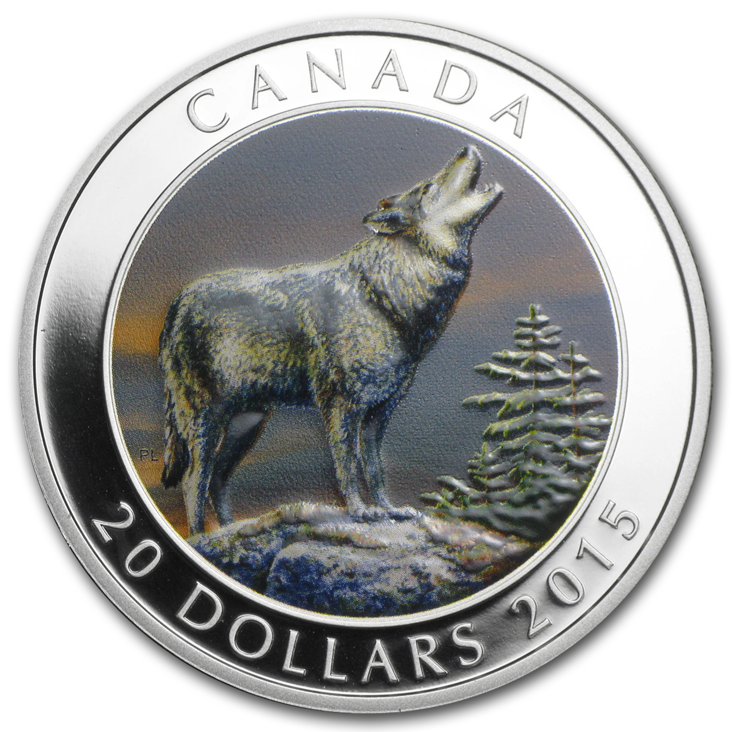 2015 Canada 1 oz Proof Silver $20 Grey Wolf
