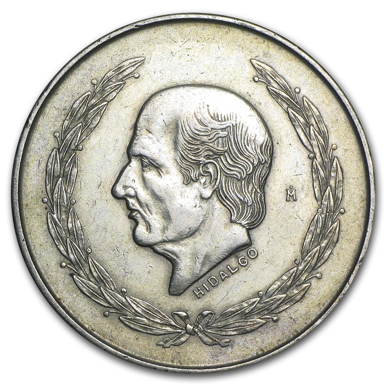 1951 1953 Mexico Silver 5 Pesos Hidalgo Xf Bu Random 5