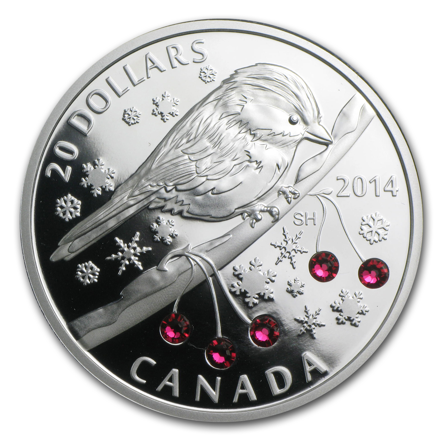 2014 1 oz Silver Canadian $20 Chickadee with Winter Berries